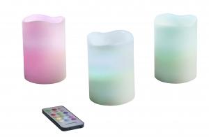Pack 3 velas Led Multicolor